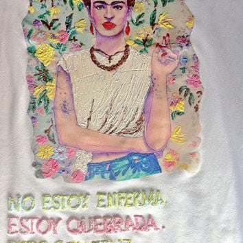 Frida Kahlo T shirt 3D  retro painting long sleeves cool rock Made to ORDER white liliac yellow women men  Italy short or long sleeves