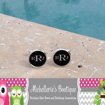 Personalized Black Mens Cufflinks, Personalized Tie Clip, Monogram Cufflinks, Monogram Tie Clip, Pinstripe, Mens Cufflinks, Gifts for Him