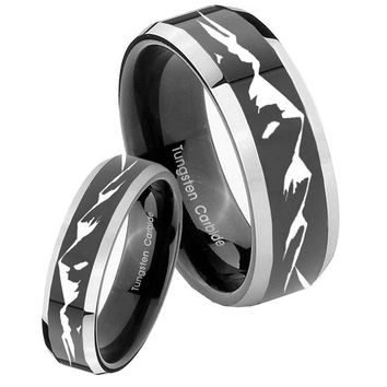 His Hers Shiny Black Bevel Mountain 2 Tone Tungsten Wedding Rings Set