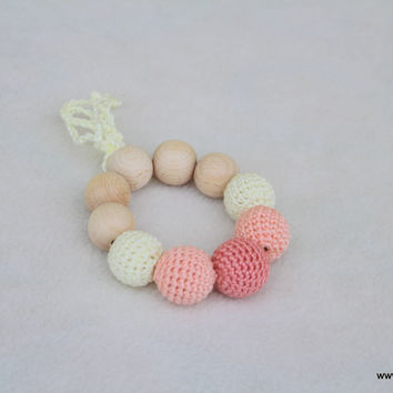 Peach camellia bracelet-teether