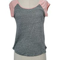 Casual Color Block Raglan Round Neck Cap Sleeve Melange Basic Tee Shirt Top