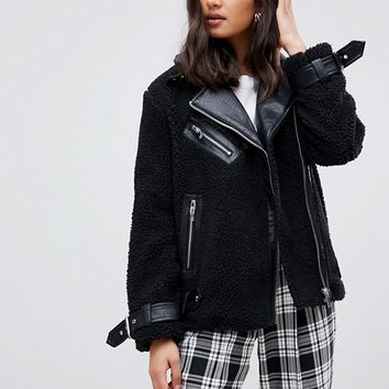 Miss Selfridge borg biker jacket in black at asos.com