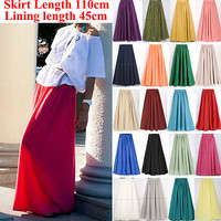 Sexy EXTRA LONG Draggletail Floor Chiffon Maxi Elastic Band Dress Skirt 110cm