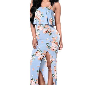 Floral Print Ruffles Slash Neck High Slit Long Dress