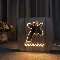 GIRAFFE 3D wooden lamp