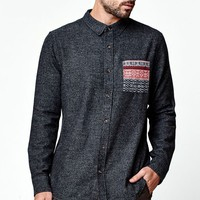 On The Byas Chip Contrast Pocket Long Sleeve Button Up Shirt - Mens Shirt - Black