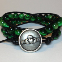 Green Tiger Eye Double Wrap Bracelet w/ Claddagh