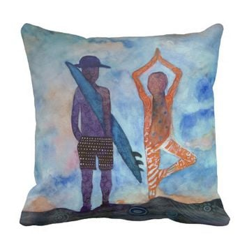 Surf Yoga Sunset Fairy Drawing Throw Cushion