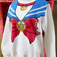 New Harajuku Sailor Moon Long Sleeve Shirt Seaman Neck Bowknot Pattern Fake Hood Birthday Gift Fans Collectables (Color: Multicolor) = 1932477764