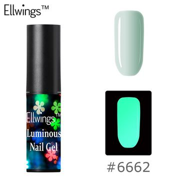 Ellwings Lucky Color Glow In Dark Nail Gel Polish Fluorescent Luminous Nail Polish Glitter Lacquer 28 Candy Colors LED UV Lamp