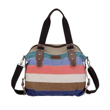 Hot Sale! Women Handbags, Neartime Fashion Girl Canvas Totes Casual Crossbody Versatile Stripe Shoulder Bag (❤️42cm(L)×16cm(W)×34cm(H), B)