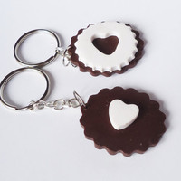 COOKIE KEYCHAIN / KEYRING - friendship / bff / boyfriend & girlfriend
