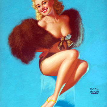 Pin-Up Girl Wall Decal Poster Sticker - Pretty Foxy - Blonde Pinup Pin Up
