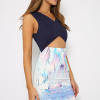 Dreamboat Dress - Multicolor Pastel Print  Cut out detail Dress