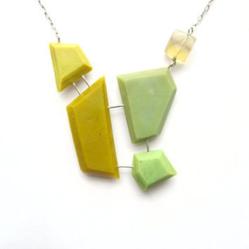 Yellow and green small statement necklace, genuine fluorite, sterling silver, genuine gemstone necklace, plastic contemporary necklace