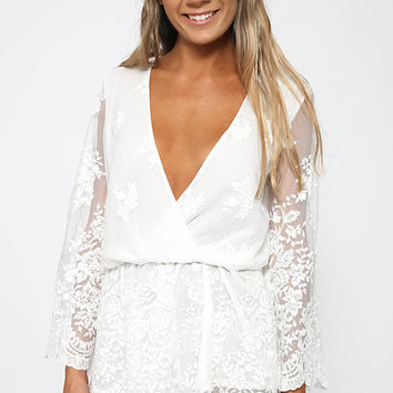 Daylilies Playsuit - White