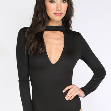 Black Long Sleeve Choker Bodysuit | MakeMeChic.COM