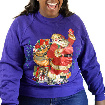 90'S Vintage Ugly/Tacky Christmas Swaeter Sweatshirt/Purple Puff Paint Santa Claus/ Plus Size 2X/ Sweater Party
