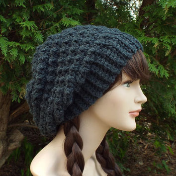 Charcoal Gray Slouchy Crochet Hat - Womens Slouch Beanie - Ladies Oversized Cap - Chunky Hat