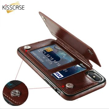 KISSCASE Retro PU Leather Case For iPhone 7 8 XR XS Max Card Holders Cover For iPhone X 6 6S Plus 5 5S SE Leather Wallet Fundas