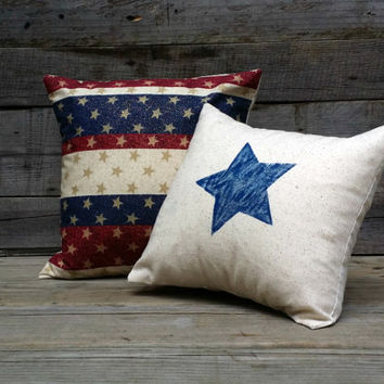 4th of July Throw Pillows Set of 2, Stars Pillow Covers,  Patriotic Pillow, Rustic Home Decor, Decorative Pillow, Feed Sack Pillows