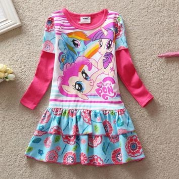2016 Baby Girls Summer Dress Long Sleeve Children Clothes Cartoon Printed Little Pony Pattern Casual Girl Kids dress