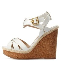 White Crisscross Platform Wedge Sandals by Charlotte Russe