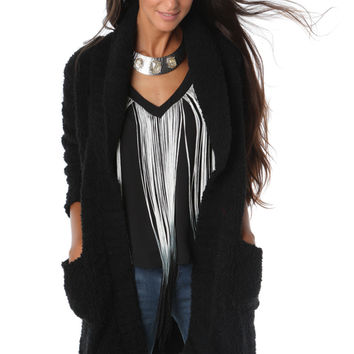 Long Sleeve Cardigan with Fluffy-Look Fabric
