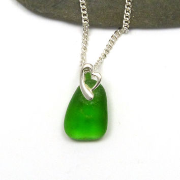 Emerald Green Sea Glass Pendant Necklace Sterling Silver Heart Bail LEXI