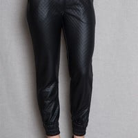Sneak Peak Jeans Quilted Faux Leather Jogger Pants - Black