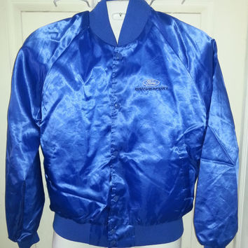 Vintage 1980s Retro FORD MOTORSPORT Blue Nylon Jacket by Auburn Sportswear - Size Medium