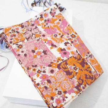 Fabric Gift Bags- Reusable / Recyclable Fabric Drawstring Gift Wrapping Bag or Goody Bag in Lavender and Brown - Set of 4 - 7 1/2x 10 inches
