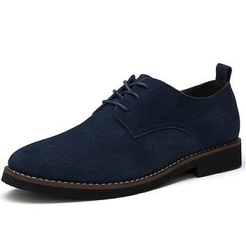 Brand Italy Shoes Man Flats Shoes Fashion Nubuck Leather Anti Slip Lace-Up Oxford Moccasins Plus Size Mne Shoes