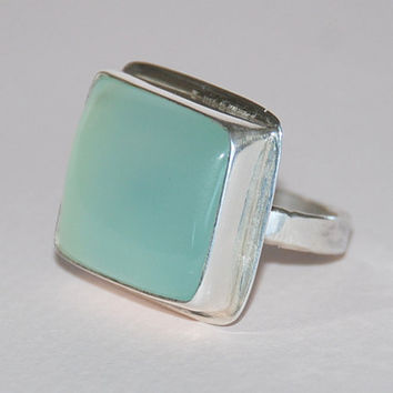 Soft Green Chalcedony Gemstone Sterling Silver Handmade Ring