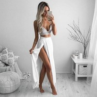 Two Pieces White Simple Prom Dress