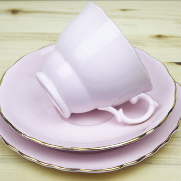 Pink Tea Cup, Teacup Trio, China Tea Cup, Pastel Pink, Afternoon Tea, Gift for Her, Vintage Kitchen, Vogue Tea Set - 1940's / 1950's