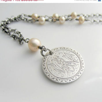 ON SALE Coin Pendant, Love Token Necklace, Vintage Coin Necklace, Pearl Jewelry, Vintage Necklace, Oxidized Silver Necklace, Antique Necklac