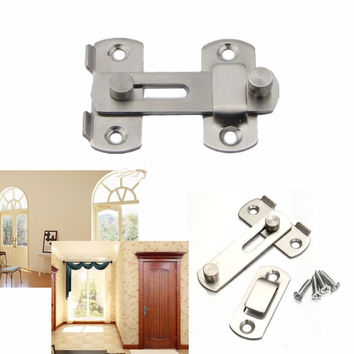 Stainless Steel Home Safety Gate Door Bolt Latch Slide Lock Hardware+Screw