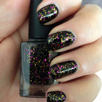 "Nail Polish - ""Vintage Glamour"" Black Jelly with Purple & Gold glitter Full Size 12ml"