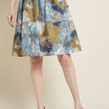 Charming Cotton Skirt with Pockets in Maps