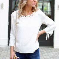 Trendy Fringed Blouse-Ella Moss Stella Fringed Top-$158.00 | Hand In Pocket Boutique