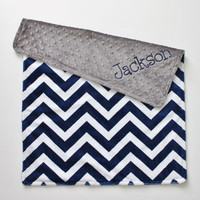 Personalized DOUBLE MINKY Midnight Blue and White Chevron with Gray Blanket or Lovey - Or Choose Your Colors