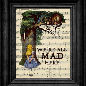 Alice In Wonderland Were All Mad Here Cheshire by rockcreekvintage
