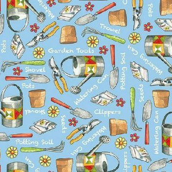 Gardening Fabric, Gardening Tools, Sewing Fabric, Quilting Fabric, By The Yard, Quilting Treasures, By The Half Yard, Who Let The Hogs Out