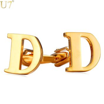 U7 Name Jewelry Cufflinks Mens Jewelry Trendy Gold Color Alphabet D Letter Charm Blanks Cuff Links Birthday Gift With Box C204