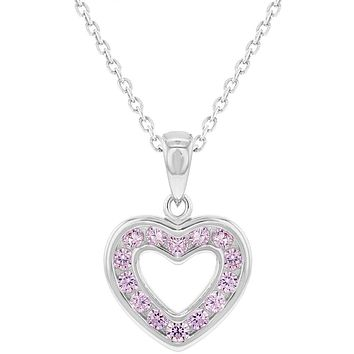 """925 Sterling Silver CZ Small Open Heart Pendant Necklace for Girls 16"""""""