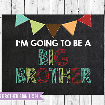 Big brother sign // pregnancy announcement // Im going to be a big brother chalkboard // Woodland Colors // Promoted to big brother sign