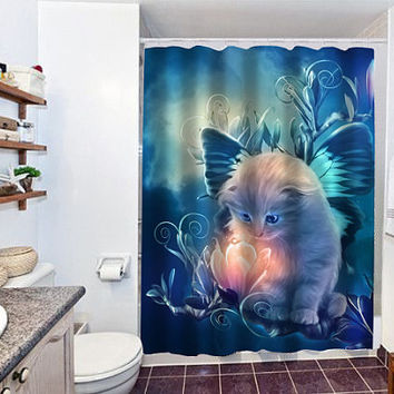 fairy kitty special custom shower curtain