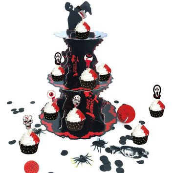 Halloween Decor Big Spook Red Black Halloween Cupcake Stand with 3 Tier Cardboard Table Centerpiece Zombie Party Decorations