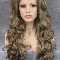 """26 inch Heat Safe Synthetic Lace Front in Curly Texture """"Calypso"""" in Dark Blonde Mix"""